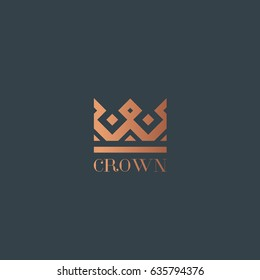 Geometric Vintage Crown abstract Logo design vector template. Vintage Crown Logo Royal King Queen symbol Logotype concept icon.