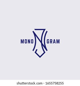 Geometric vintage monogram letters N and J design template. Vector illustration.