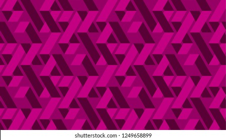 Geometric vivid magenta zig zag seamless pattern. Abstract labyrinth repeatable motif. twisted ribbon or border background. Minimal textile, wallpaper, wrapping paper. Vector stock illustration
