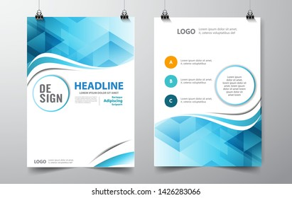 Geometric waves Absract background. blue curves lines. Brochure, flyer, poster, template. Cover design. vector-stock illustration EPS 10 - Vector