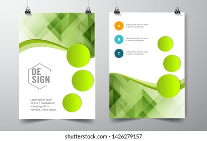 Geometric waves Absract background. Brochure, flyer, poster, template. Cover design. vector-stock illustration EPS 10 - Vector