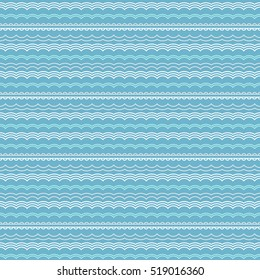 Geometric waves pattern. Abstract seamless blue wavy chevron shapes background.