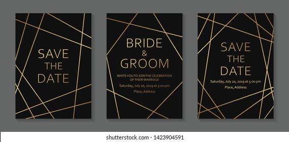 Geometric wedding invitation design or greeting card templates with golden lines on a black background.