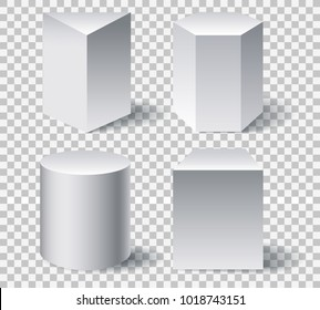 Geometric white 3d shapes. Geometry shape set like cone and cylinder, octahedron and prisma isolated on transparent background, vector illustration