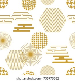 Geometric white and golden oriental print. Seamless vector pattern with Japanese, Chinese and Korean motifs. Abstract background with circles, hexagons. Composition for textile design, cards.