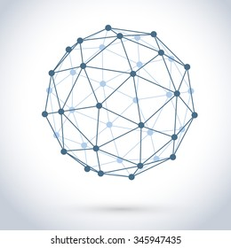 Geometric wire mesh sphere isolated on white background.