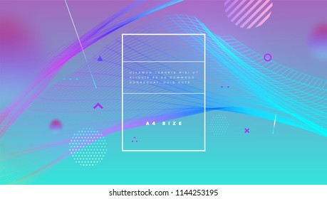 Geometric wireframe polygonal wave with trendy geometric elements for cover background. Eps10 vector illustration