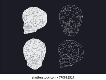 Geometric wireframe skull images. Two different angles with positive and negative options.