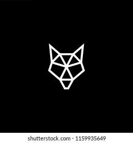 Geometric wolf head illustration. White vector icon on black background.