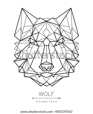 Geometric Wolf Head Tattoo Tshirt Design Stock Vector Royalty Free