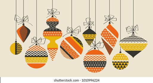 Geometric xmas bauble pattern vector illustration in retro 60s style. Vintage 1970s Christmas balls abstract motif in hot orange and yellow colors fo invitation, header, poster, cover.