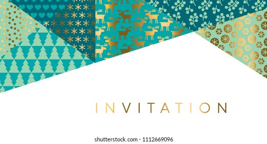 Geometric xmas patchwork pattern for header, card, invitation, poster, cover and other web and print design projects. Naive Christmas patchwork motif in green turquoise colors.