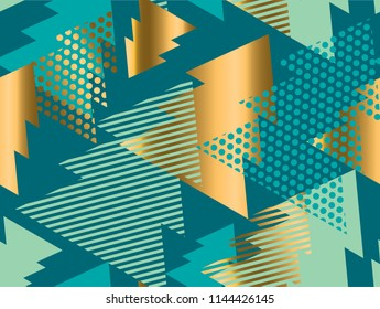 Geometric xmas tree  seamless pattern for background, wrapping paper, fabric, surface design. Green Christmas stock vector illustration