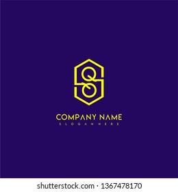 geometric yellow hexagonal modern lines QQ logo letters design concept wih purple background