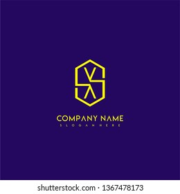 geometric yellow hexagonal modern lines VV logo letters design concept wih purple background