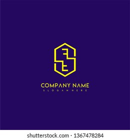 geometric yellow hexagonal modern lines FF logo letters design concept wih purple background