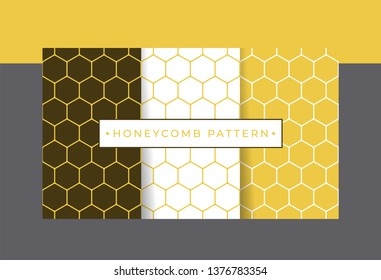 Geometric yellow honeycomb seamless pattern set. Vector eps10 editable designs.