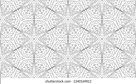 Geometric zentangle coloring seamless pattern. Vector abstract black and white ornament.