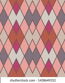 Geometric zigzag seamless pattern. Zigzagging rhombus view texture. Rhomboid diagonal background. Gray, beige, rosy colored. Vector.