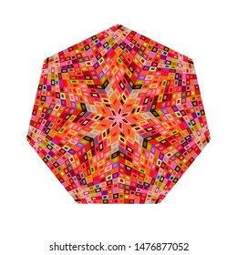Geometrical abstract colorful mosaic heptagon symbol template - ornamental vector design element with geometric shapes