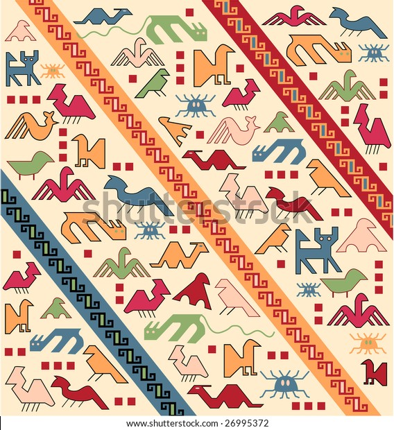 geometrical animals oriental carpet vector