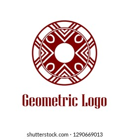Geometrical art. Circle ornamental logo icon. Deco vector design.