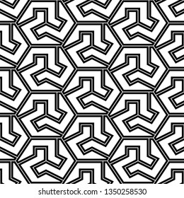Geometrical backdrop.Seamles pattern. Hexagons, figures ornament. Polygons background.Simple shapes wallpaper. Mosaics motif. Digital paper, web designing, textile print. Vector
