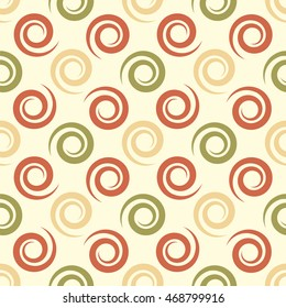 Geometrical background with spirals. Abstract seamless vector pattern. Light colors. Cover, greeting card or wrapping paper design. Decorative ornament.