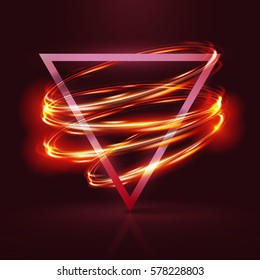 Geometrical banner with neon lights . 3d triangle vector banner with fire blurry circles at motion . swirl trail effect , Exposure time . Lightpainting on banner .