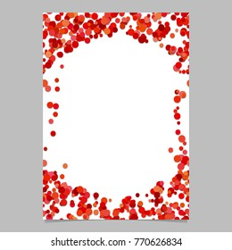 Geometrical chaotic dot design cover background template - digital vector blank flyer border illustration from red circles