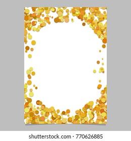 Geometrical chaotic dot pattern brochure background template - trendy vector blank flyer border design from color circles