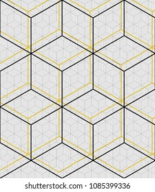Geometrical and colourfull grid on geomtrical pattern. Abstract Seamless vector background. Modern monochrome texture.