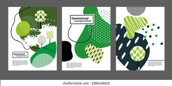 Geometrical composition. Can be used for covers, flyers, banners. Backgrounds with different trees in Scandinavian style.  Plant elements for landscape design.