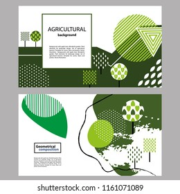 Geometrical composition. Can be used for covers and flyers. Backgrounds with different trees in Scandinavian style.  Plant elements for landscape design. Horizontal banner