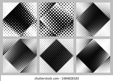 Geometrical diagonal square pattern background collection - abstract vector illustrations from squares
