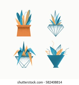 Geometrical grain textured modern vector icons' set of indoor plants in pots. Isolated creative design nature objects.