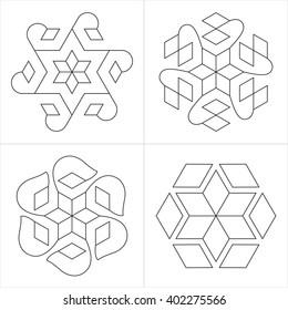 Geometrical indian ornaments. Set of spiritual symbols from South India. Natural philosophical patterns. Traditional art drawings, rangoli. Harmonic nature logo. Temple signs. Awakened healing life.