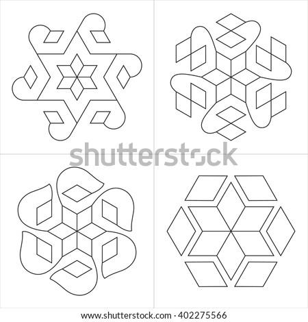 Geometrical Indian Ornaments Set Spiritual Symbols Stock Vector