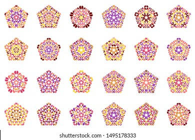 Geometrical isolated flower ornament pentagon symbol template set - abstract pentagonal vector design elements from stones