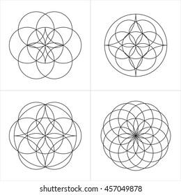 Geometrical line ornaments. Set of spiritual cosmic symbols. Natural philosophical patterns. Traditional art drawings. Harmonic nature logo. Temple theosophy signs. Awakened healing life illustration.