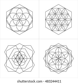 Geometrical line ornaments. Set of spiritual cosmic symbols. Natural philosophical patterns. Traditional art drawings. Harmonic nature logo. Temple theosophy signs. Awakened healing life illustration
