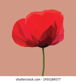 Geometrical, low poly, illustration of a red poppy from the side on a reddish background
