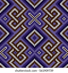 Geometrical ornate seamless knitted vector pattern as a fabric texture in blue, violet, brown and white colors