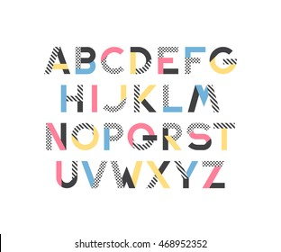 Geometrical pattern and color blocks' latin font, pop art graphical decorative type.