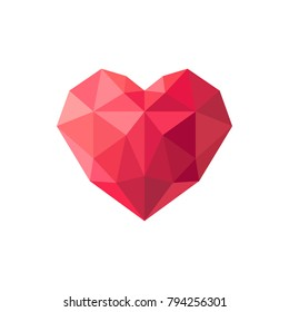 Geometrical polygonal heart. Vector illustration.