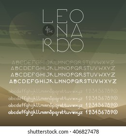 Geometrical round font (uppercase, lowercase, numbers). A to Z alphabet. Four weights of one font (hairline, light, regular, bold). Elegant sans serif font family.
