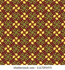 Geometrical seamless pattern with floral ornament.