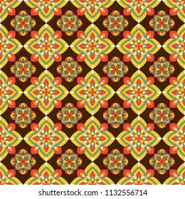 Geometrical seamless pattern with floral ornament.Bright pattern on a dark background. Can be used for printing on fabric, for gift wrapping, wrapping paper, wallpaper.