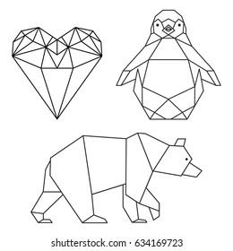 Geometrical shaped heart, penguin and bear.