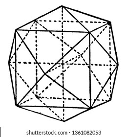 A geometrical solid figure with multiple triangles. This type of figure is termed as Tetrahexahedron. This has multiple irregular shaped traingles, vintage line drawing or engraving illustration.